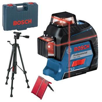 Lézer szintező, max.: 30m hatósugár  +-0,2 mm / 1 m pontosság. Bosch GLL 3-80